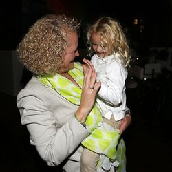 Salt Lake mayoral candidate Jackie Biskupski greets Brigit Leary while waiting for results at her election night party in Sugar House on Tuesday, Nov. 3, 2015.