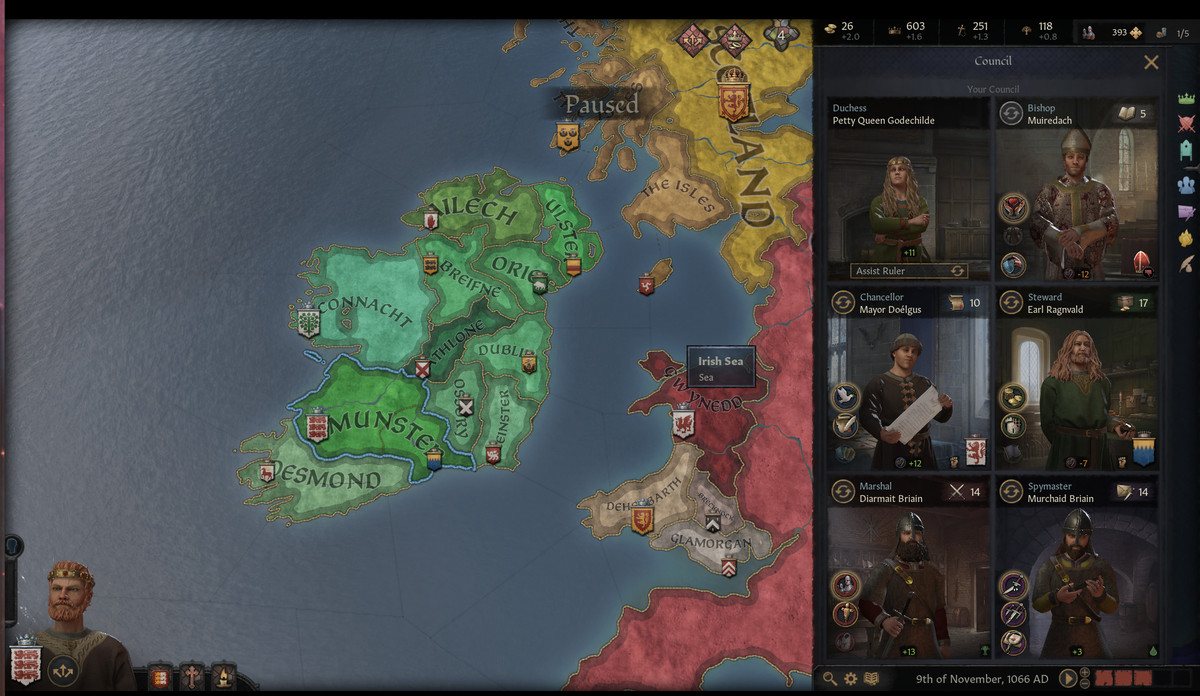 A screenshot of the council seats in Crusader Kings 3