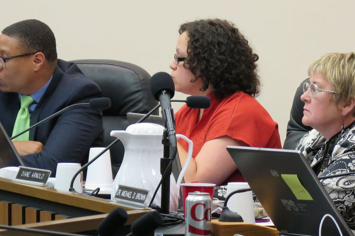 IPS Superintendent Lewis Ferebee and board members Gayle Cosby (center) and Diane Arnold at a meeting last year.