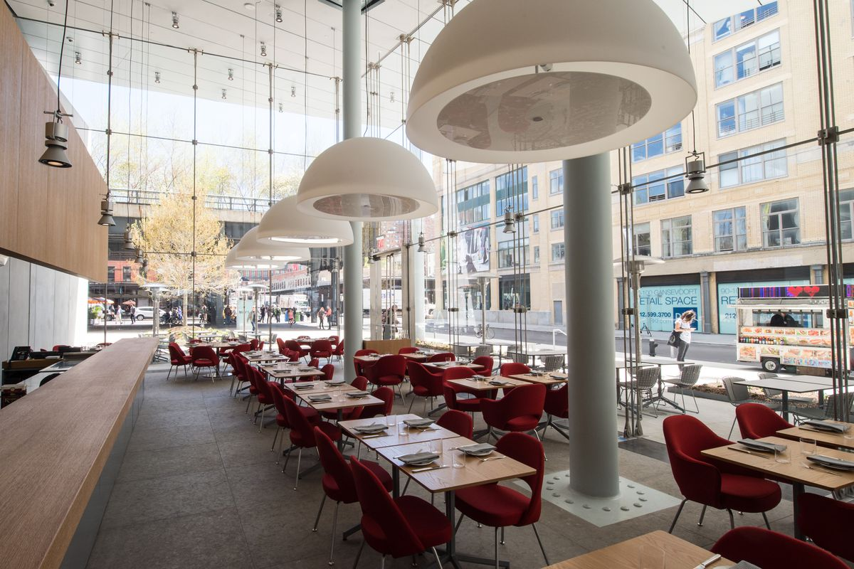 """[The dining room at Untitled at The Whitney, home of """"roasted and fried"""" chicken, and an impressive layer cake. This is a great choice for a lunch meeting or a Monday night dinner.]"""