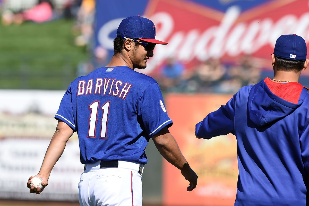 Note how Yu Darvish is using his left hand to hold the baseball