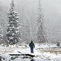 Troy Bennett enjoys fresh snow in Big Cottonwood Canyon near Silver Lake on Wednesday. Mountains saw their first white coating of the season, as much as 6 inches.