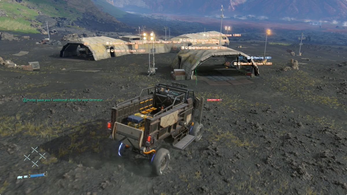 Death Stranding MULE camp with a lot of special alloy cargo