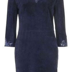 SNAKE TRIM SUEDE DRESS, $320