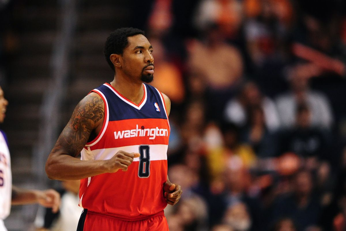 Feb. 20, 2012; Phoenix, AZ, USA; Washington Wizards shooting guard Roger Mason during game against the Phoenix Suns at the US Airways Center. The Suns defeated the Wizards 104-88. Mandatory Credit: Mark J. Rebilas-US PRESSWIRE