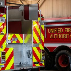 Unified fire engines are pictured at Station 127 at Camp Williams on Thursday April 29, 2021.