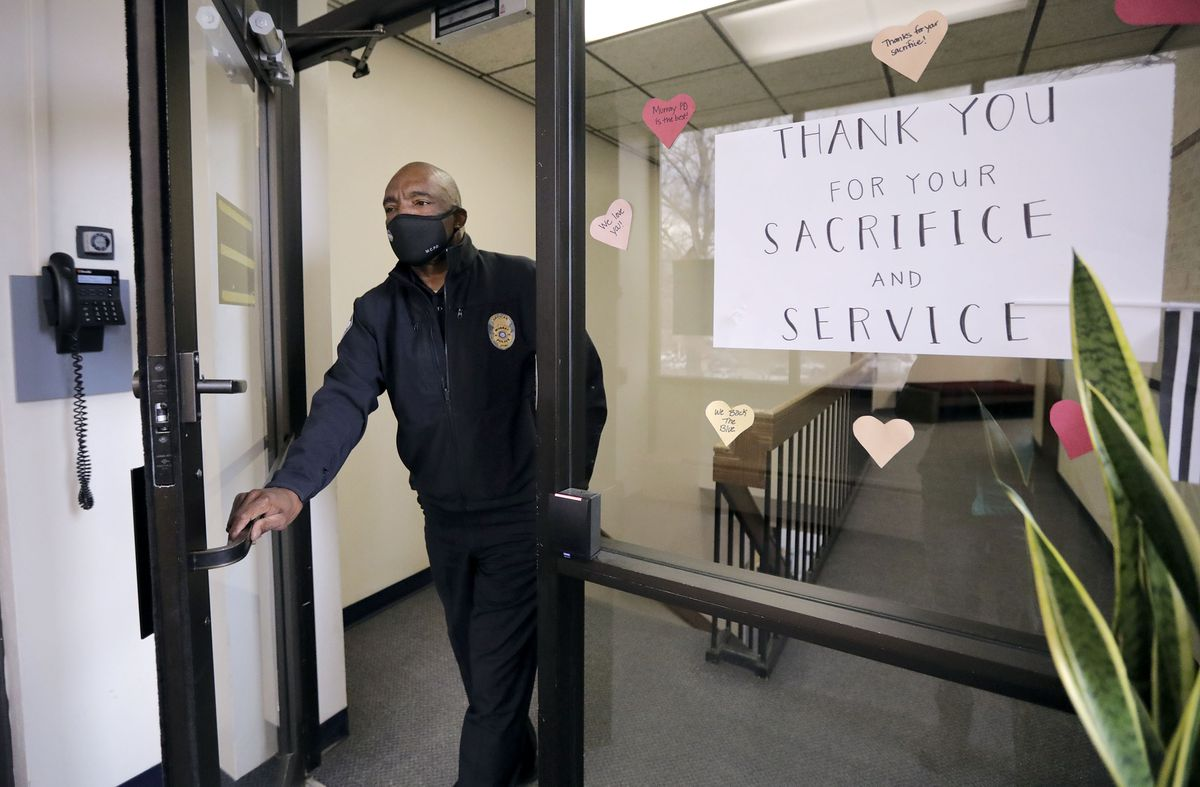 Murray Assistant Police Chief Joe Tarver exits the police station to go outside for a portrait in Murray on Tuesday, April 13, 2021. Tarver is leaving the department to become chief of investigations for the Salt Lake County District Attorney's Office.