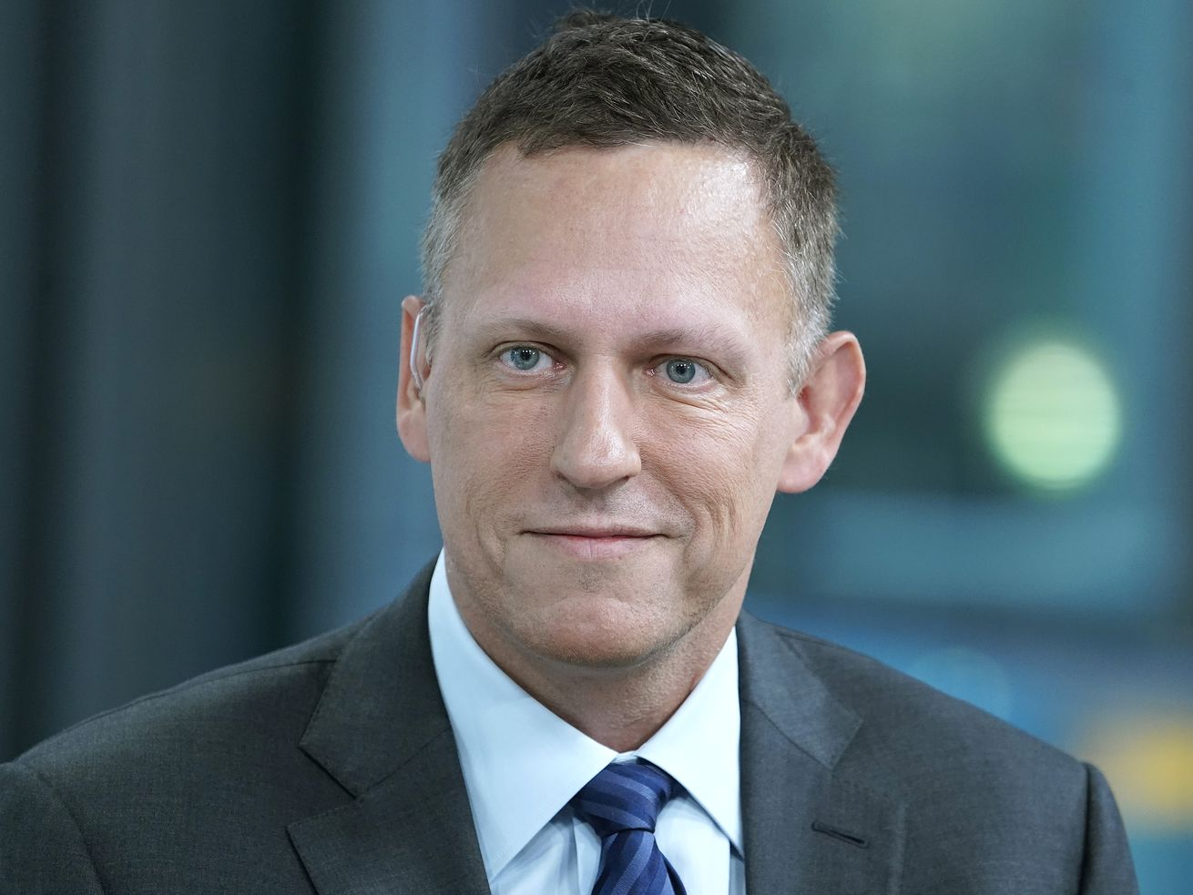 "Peter Thiel on the set of ""Fox & Friends."""
