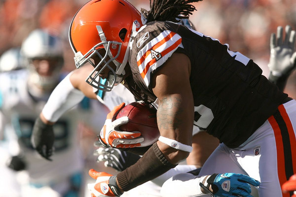 CLEVELAND - NOVEMBER 28:  Wide receiver Joshua Cribbs #16 of the Cleveland Browns runs the ball against the Carolina Panthers at Cleveland Browns Stadium on November 28 2010 in Cleveland Ohio.  (Photo by Matt Sullivan/Getty Images)