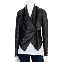 """<b>Scoop</b> Rolled Stripe Leather Jacket, <a href=""""http://www.scoopnyc.com/rolled-stripe-leather-jacket.html"""">$595</a> at ScoopNYC"""