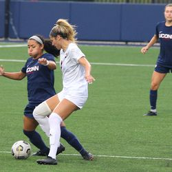 UConn's Jessica Mazo #6 during the UMass Minutewomen vs the UConn Huskies at Morrone Stadium at Rizza Performance Center in an exhibition women's college soccer game in Storrs, CT, Monday, August 9, 2021.