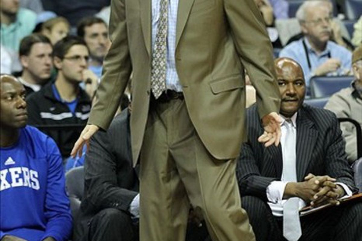 Feb 21, 2012; Memphis, TN, USA; Philadelphia 76ers head coach Doug Collins reacts to a call during the game against the Memphis Grizzlies at the FedEx Forum. Mandatory Credit: Nelson Chenault-US PRESSWIRE