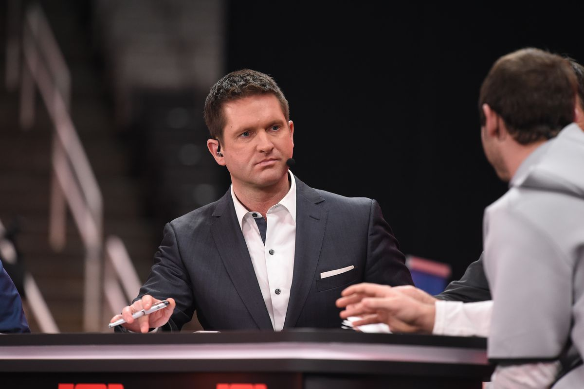 ESPN analyst Todd McShay on remote set for ESPN College Football during the Clemson Tigers Media Day for the College Football Playoff National Championship on January 5, 2019, at the SAP Center in San Jose, CA.