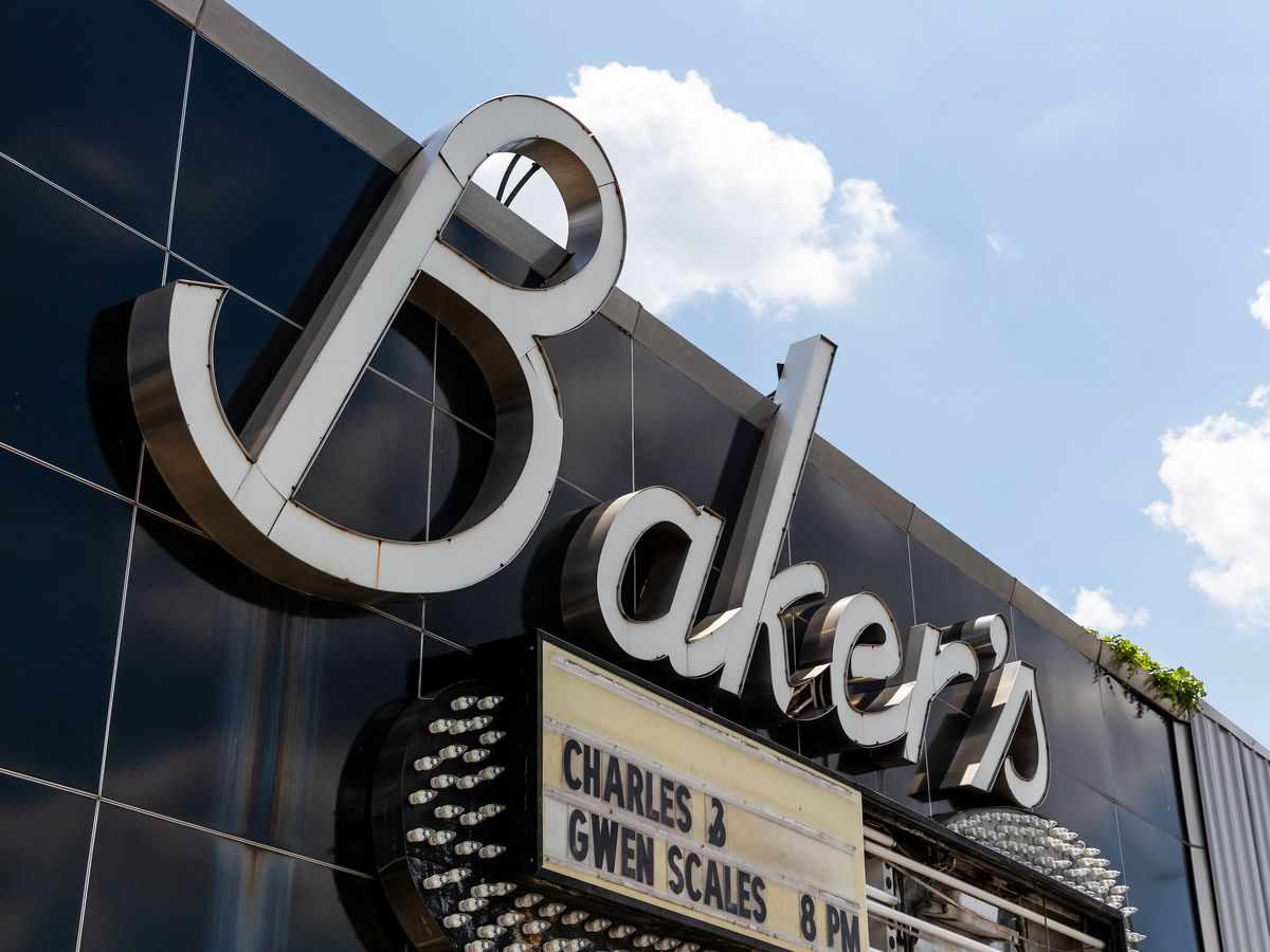 The sign for Baker's Keyboard Lounge on a sunny day.