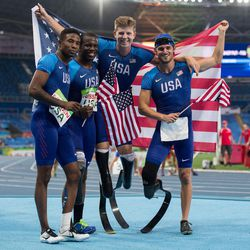 The American team of Jerome Singleton USW, Jarryd Wallace USA, Jaquvis Hart USA and Hunter Woodhall USA competing in the Men's 4x100m - T42-47 Final athletics in the Olympic Stadium in the Paralympic Games, Rio de Janeiro, Brazil, Sept. 12, 2016.