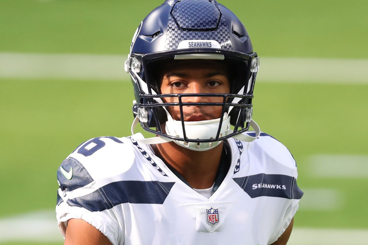 Tyler Lockett #16 of the Seattle Seahawks looks on during warmup before the Los Angeles Rams game at SoFi Stadium on November 15, 2020 in Inglewood, California.