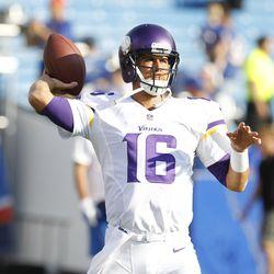 Aug 16, 2013; Orchard Park, NY, USA; Minnesota Vikings quarterback Matt Cassel (16) passing the ball before the game against the Buffalo Bills at Ralph Wilson Stadium.