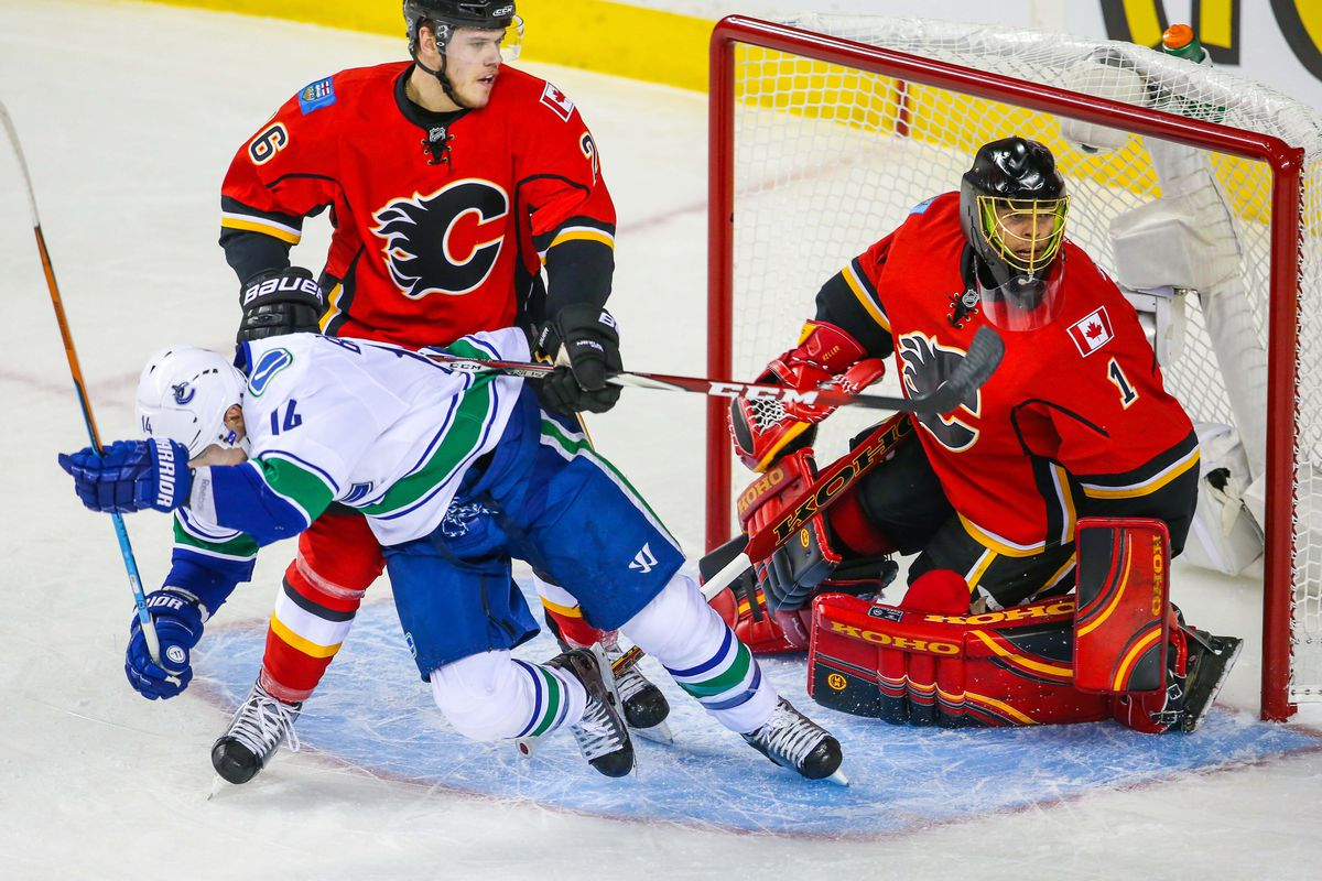 NHL: Stanley Cup Playoffs-Vancouver Canucks at Calgary Flames