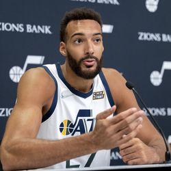 Utah Jazz center Rudy Gobert (27) talks during the Utah Jazz media media day at Vivint Arena in Salt Lake City on Monday, Sept. 27, 2021.