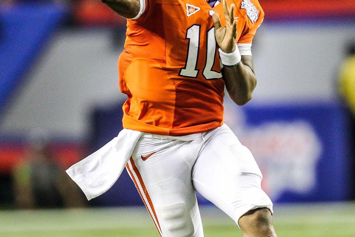 September 1, 2012; Atlanta, GA, USA; Clemson Tigers quarterback Tajh Boyd (10) throws a pass in the second half against the Auburn Tigers at the Georgia Dome. Clemson won 26-19. Mandatory Credit: Daniel Shirey-US PRESSWIRE