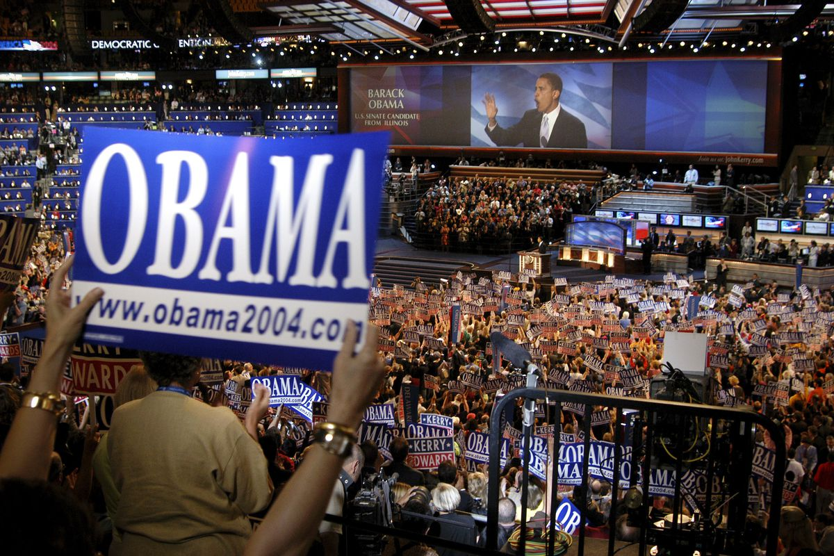 Senator Barack Obama gives a speech during the Democratic National Convention.