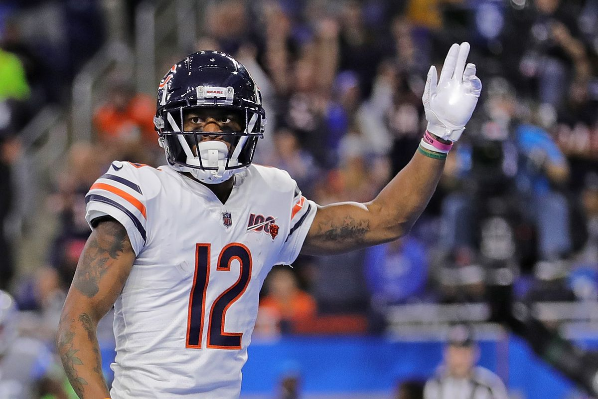 Allen Robinson of the Chicago Bears celebrates a first quarter touchdown during the game against the Detroit Lions at Ford Field on November 28, 2019 in Detroit, Michigan.