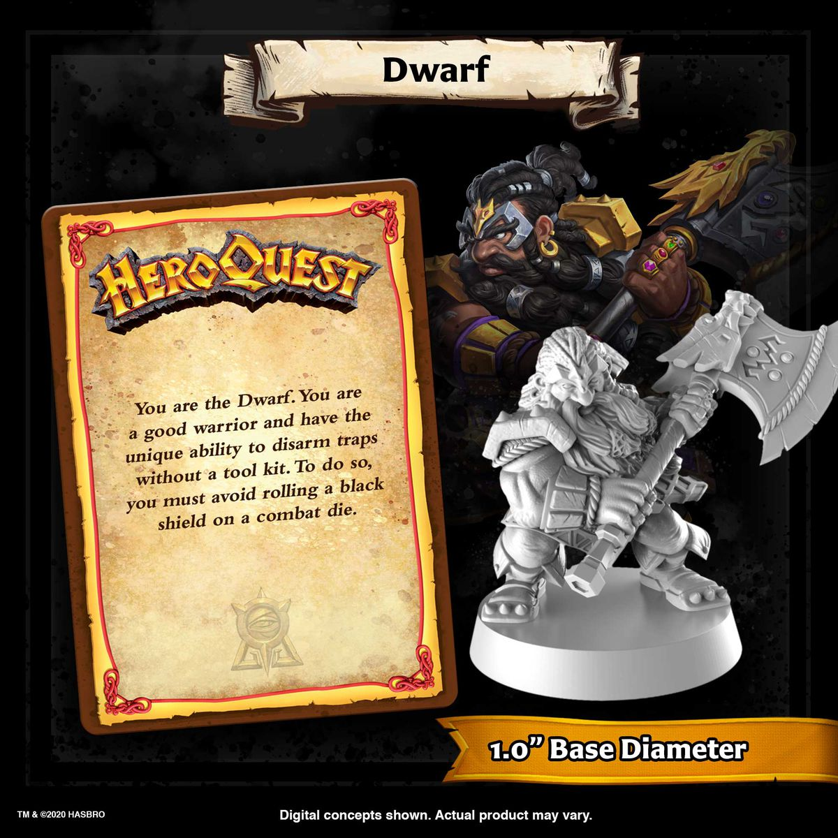 The character card for the dwarf includes a much more dynamic pose, with the dwarf rearing back to swing a single-bladed axe.