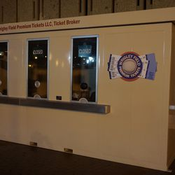 Wednesday evening: The Wrigley Field Premium Ticket booth on Addison, complete with signage