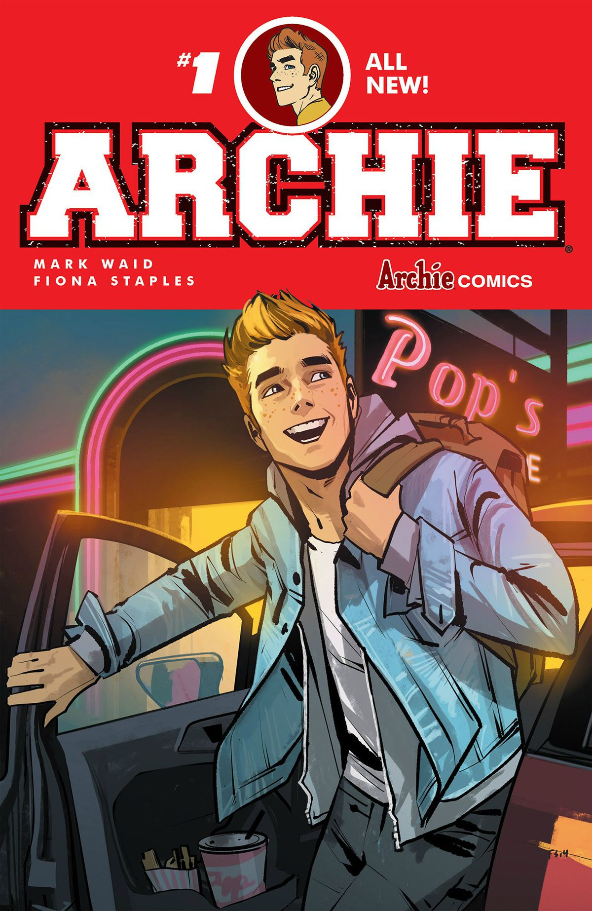 The cover of the rebooted Archie series, written by Mark Waid and drawn by Fiona Staples.