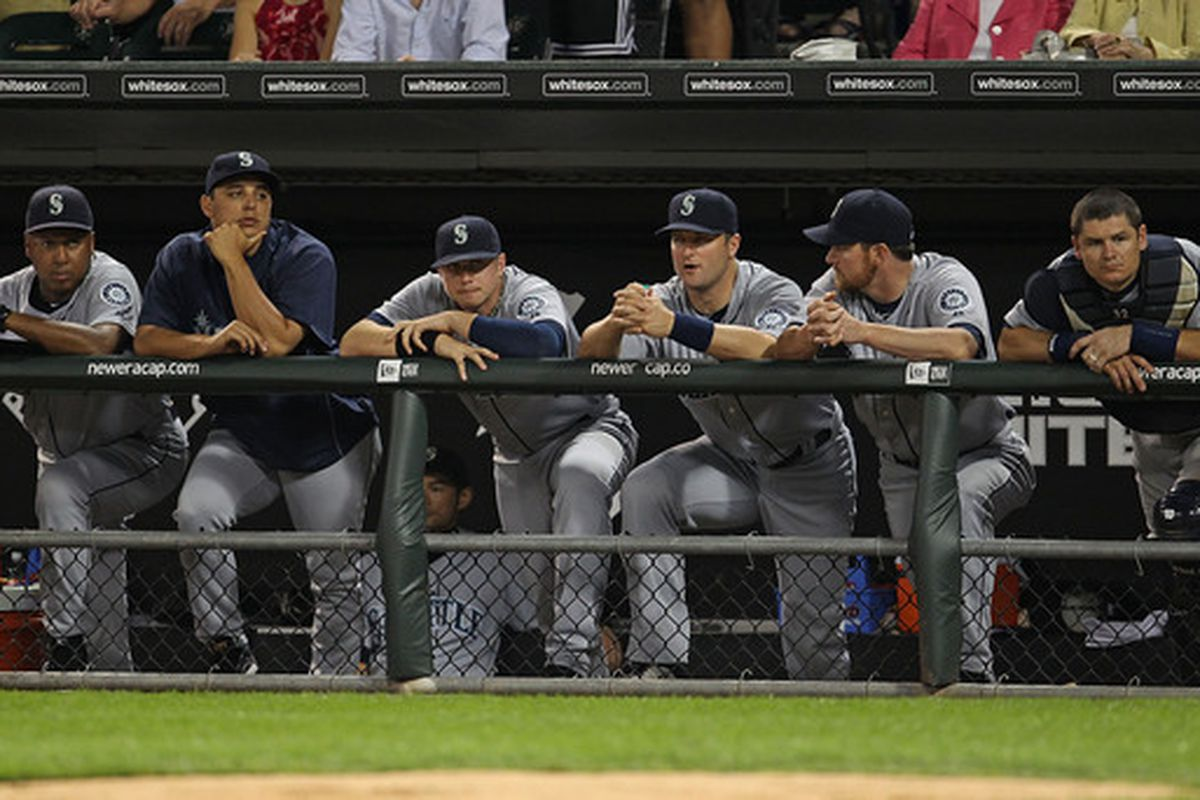 CHICAGO - JULY 26: Members of the Seattle Mariners watch the 9th inning as they lose to the Chicago White Sox at U.S. Cellular Field on July 26 2010 in Chicago Illinois. The White Sox defeated the Mariners 6-1. (Photo by Jonathan Daniel/Getty Images)