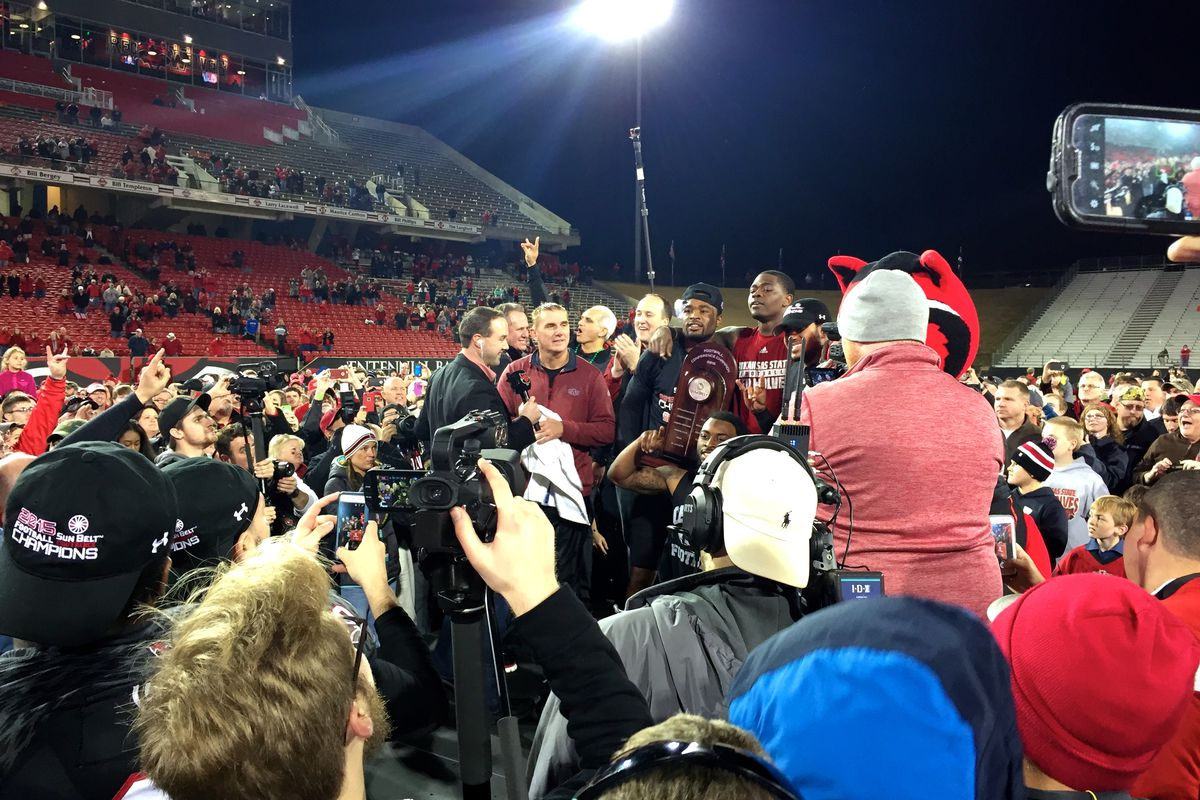 Arkansas State had to present its own Championship Trophy