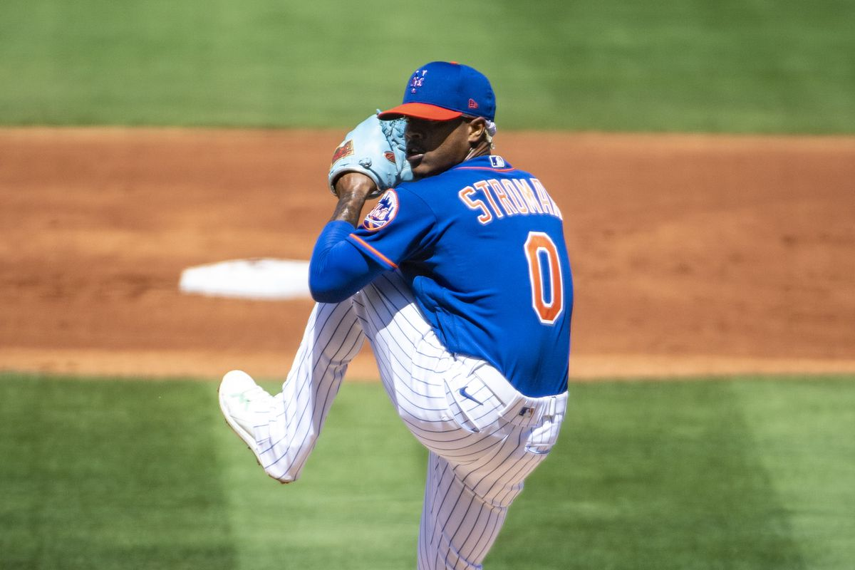 New York Mets' Marcus Stroman delivers a pitch against the Miami Marlins in exhibition game game