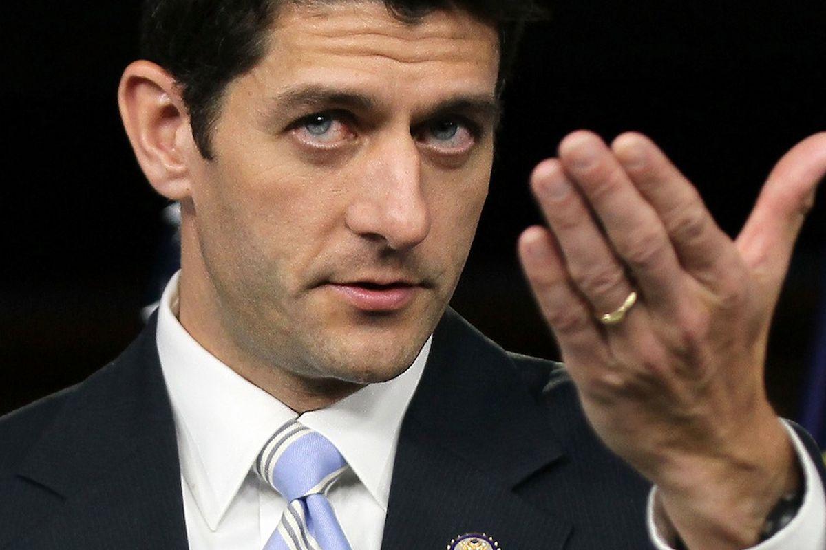 Paul Ryan and his widow's peak, via Getty