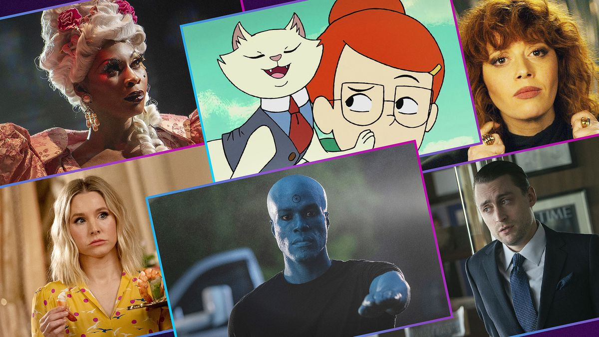 Graphic illustration featuring six images from the best TV shows of 2019
