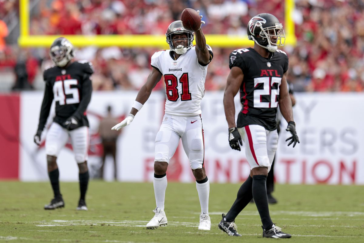 Antonio Brown #81 of the Tampa Bay Buccaneers reacts during the first half against the Atlanta Falcons at Raymond James Stadium on September 19, 2021 in Tampa, Florida.