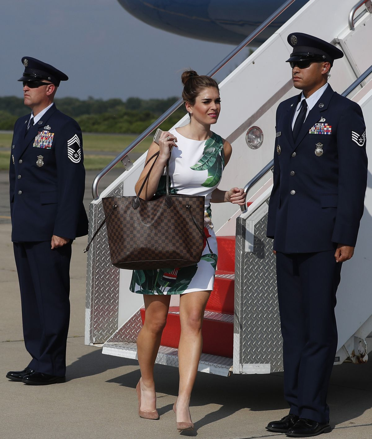 Hope Hicks arrives on Air Force One at Morristown (N.J.) Municipal Airport earlier this year en route to Trump National Golf Club. | Associated Press file photo