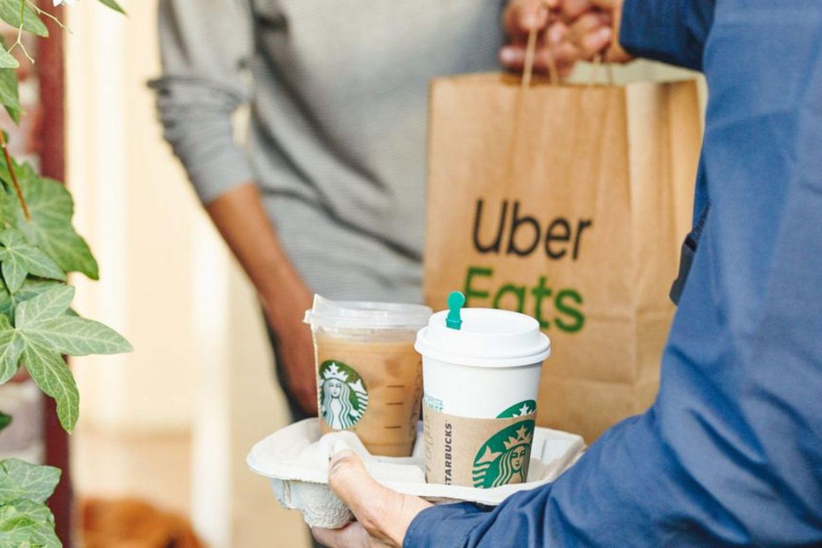 A close-up photo of a hand of a hand holding a bag labeled Uber Eaters and a trey holding two Starbucks coffee cups