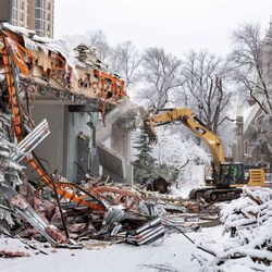 <strong>Photos provided Friday, Jan. 17, 2020, show crews working on the reconstruction of Temple Square.</strong>