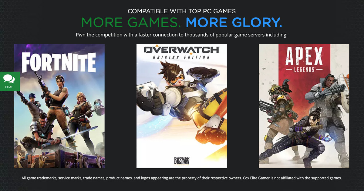Cox Communications marketing for Cox Elite Gamer highlighting Fortnite, Overwatch, and Apex Legends
