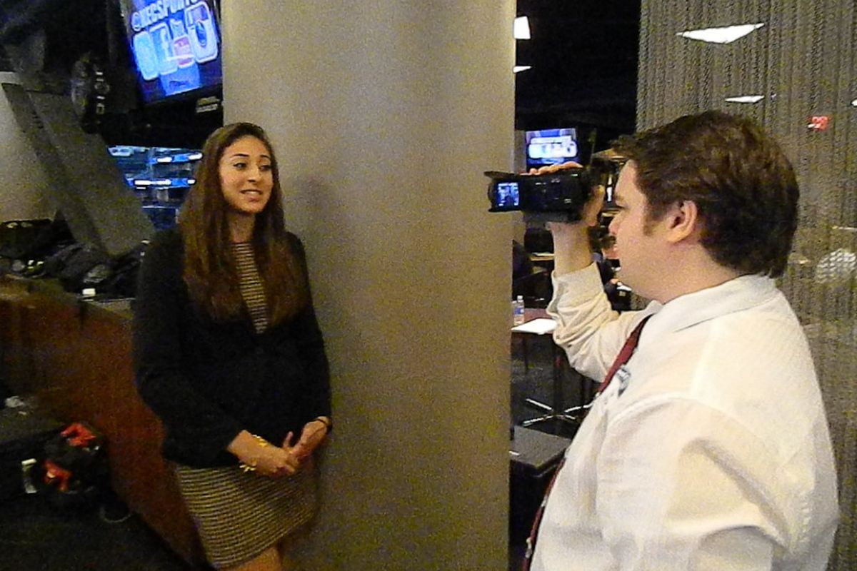 Erika Livermore at Northeast Conference media day