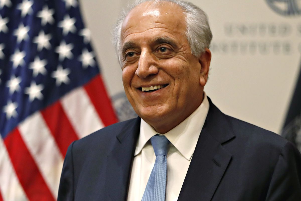 FILE - In this Feb. 8, 2019, file photo, Special Representative for Afghanistan Reconciliation Zalmay Khalilzad at the U.S. Institute of Peace, in Washington. (AP Photo/Jacquelyn Martin, File)