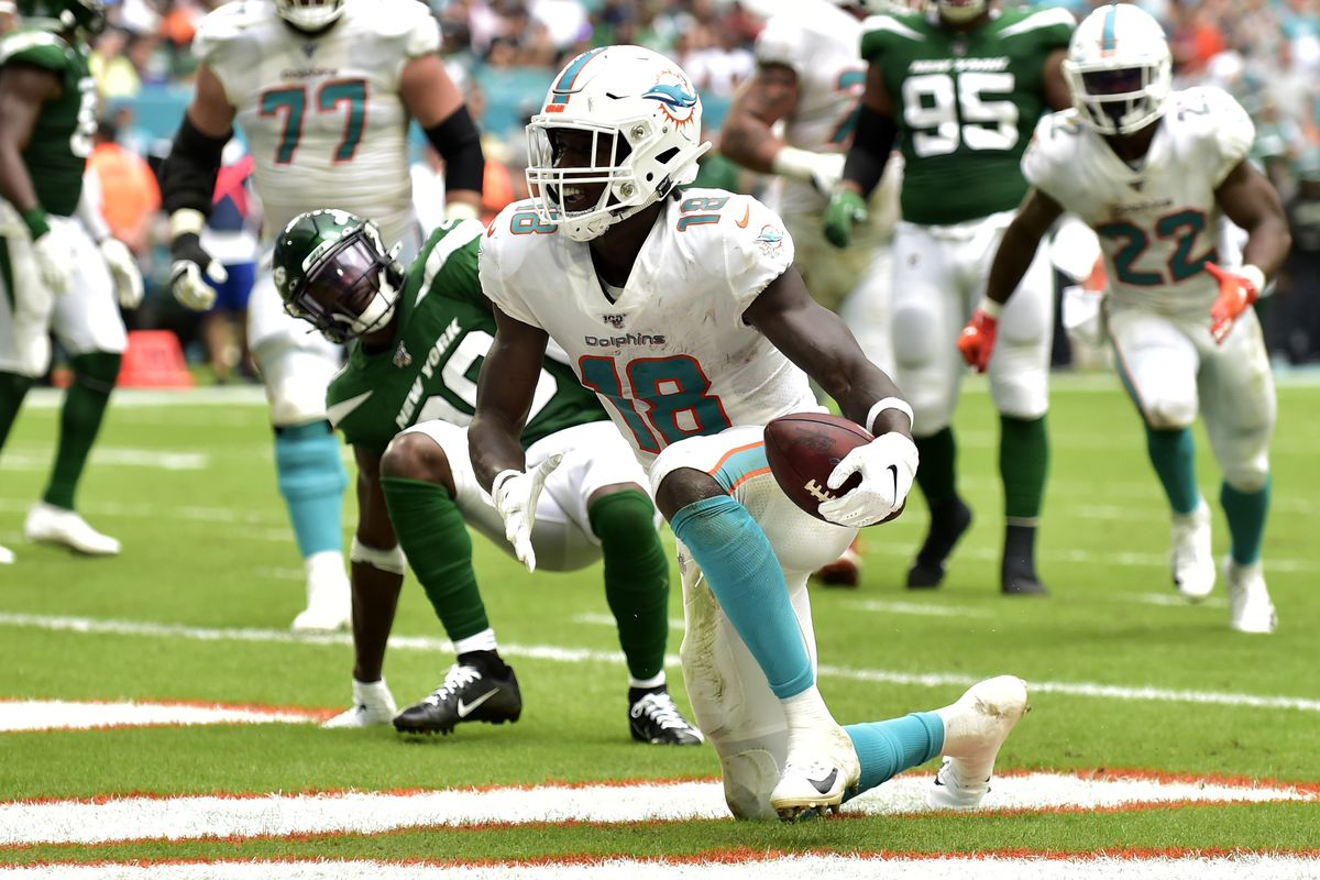 Preston Williams of the Miami Dolphins scores a touchdown in the second quarter against the New York Jets at Hard Rock Stadium on November 3, 2019 in Miami, Florida.