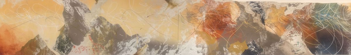 Wide abstract mural in oranges, grays, whites