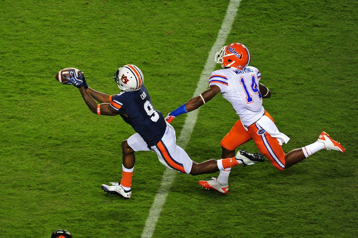 The highlight of Auburn's win over Florida may have been this catch by  Quindarius Carr from backup quarterback Clint Moseley.
