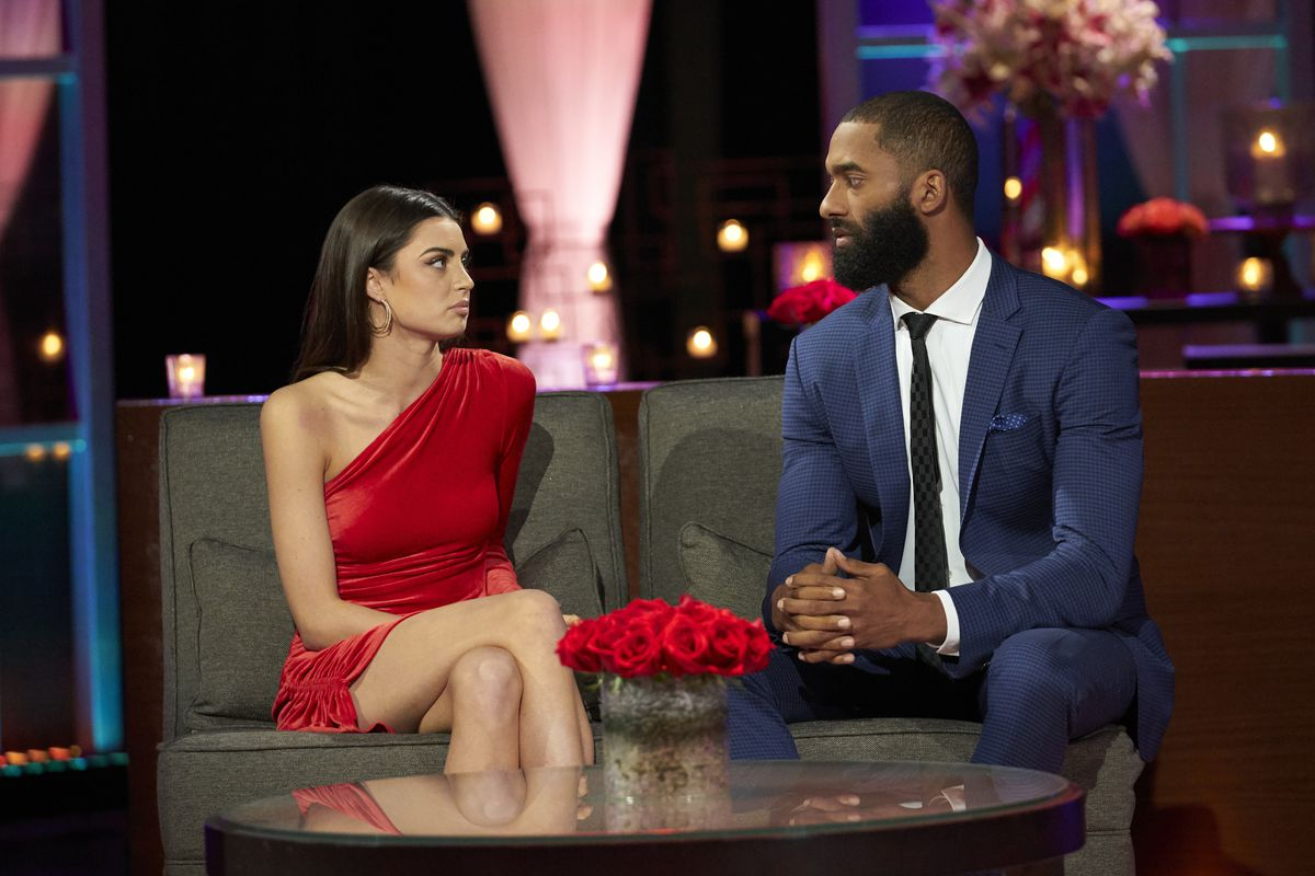 Rachael Kirkconnell and Matt James on The Bachelor's After the Final Rose special.