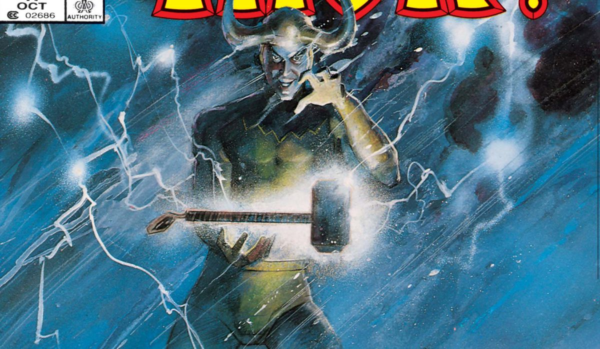 Loki stands in a thunderstorm with Mjolnir floating between his hands on the cover of What If? #47 (1984).