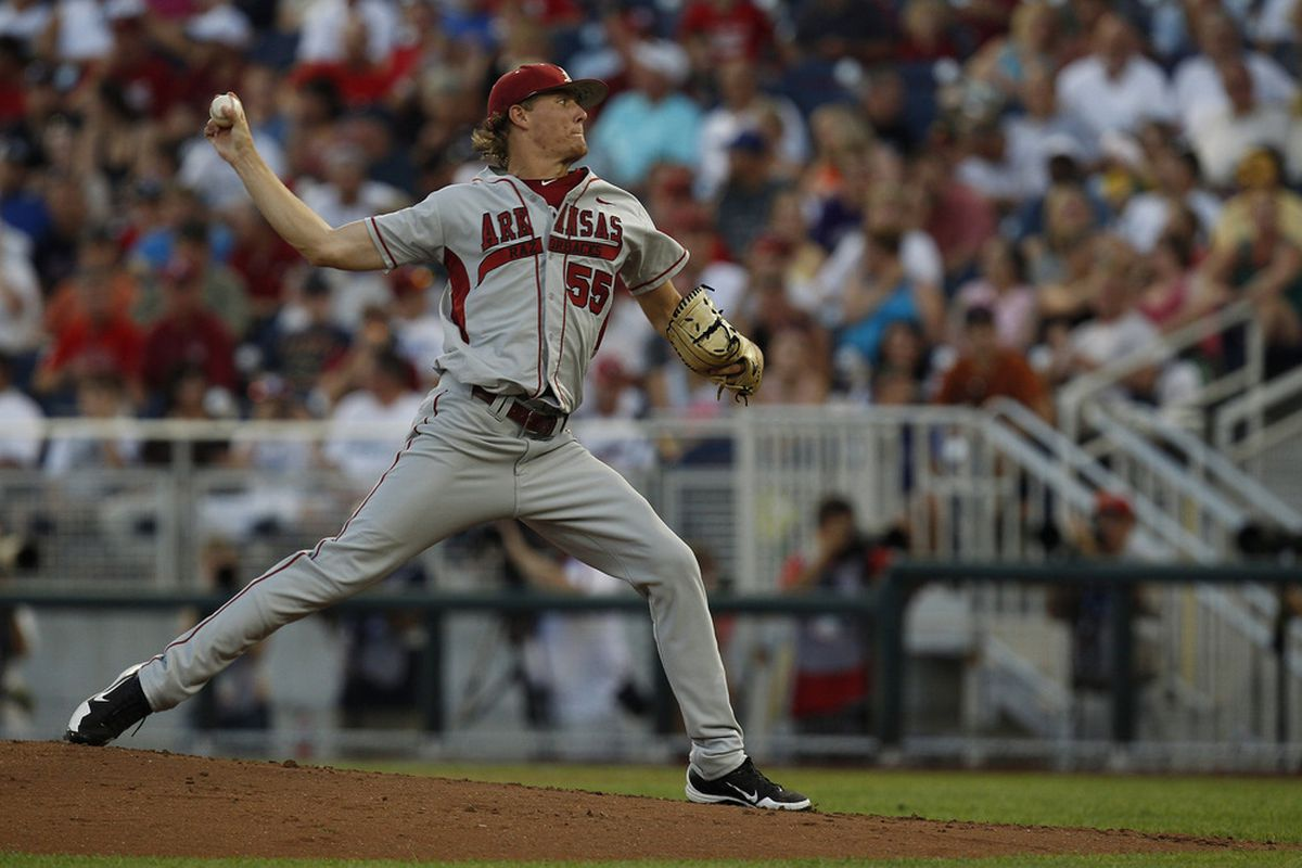 RHP Ryne Stanek of Arkansas was projected to the Dodgers by Keith Law of ESPN