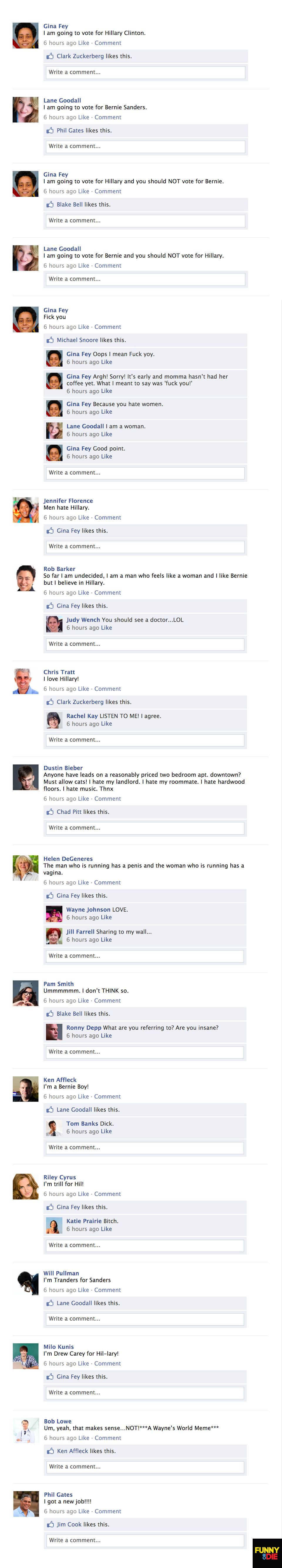 Your Facebook Feed During The Democratic Primary - Funny Or Die