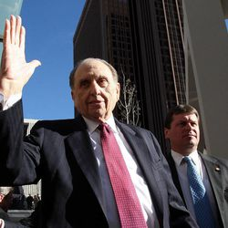 President Thomas S. Monson of The Church of Jesus Christ of Latter-day Saints greets people following a ceremony to open City Creek Center in Salt Lake City, Thursday, March 22, 2012.