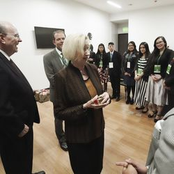 Elder Quentin L. Cook of the Quorum of the Twelve Apostles of The Church of Jesus Christ of Latter-day Saints and his wife sister Mary Cook meet with youth in Bogota, Colombia, on Sunday, Aug. 25, 2019.
